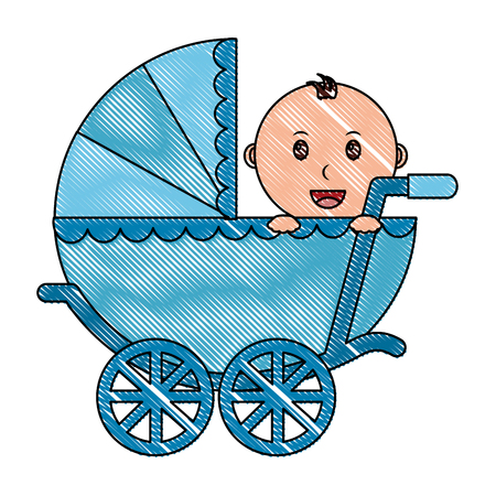 baby boy cart isolated icon vector illustration design