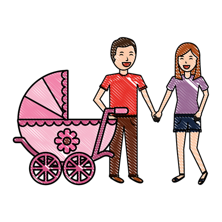 couple parents with baby cart vector illustration design