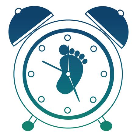 Alarm clock with footprint vector illustration design.