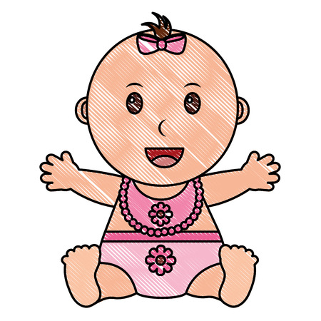 baby gril with diaper and bib vector illustration design