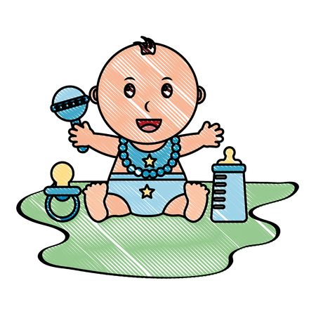 Baby boy with diaper and accessories icon