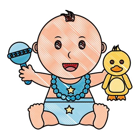 baby boy with diaper and toys vector illustration design Foto de archivo - 99614721