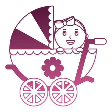 Baby girl cart isolated icon vector illustration design