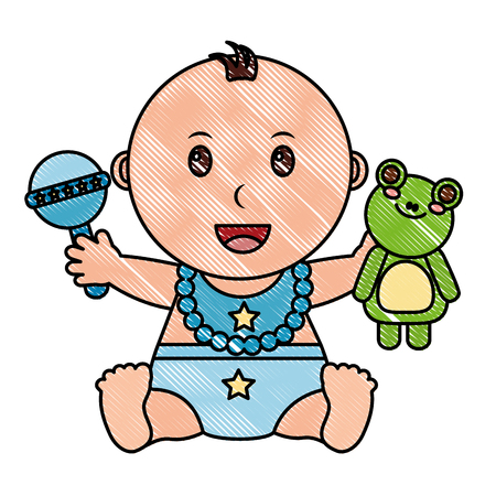 Baby boy with diaper and toys vector illustration design Illustration