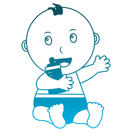 baby boy with diaper and bottle milk in hand vector illustration design Illustration