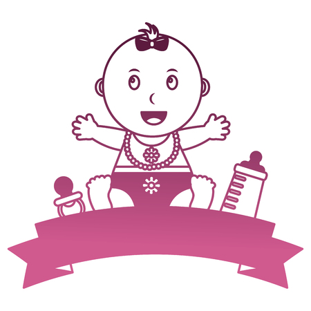 baby girl with ribbon frame and accessories vector illustration design