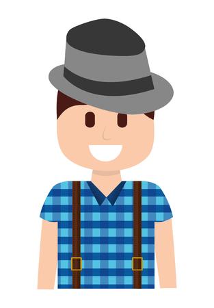 man with hat hipster style vector illustration design Illustration