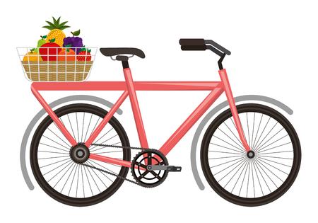 bicycle with basket of fruits vector illustration design Illustration