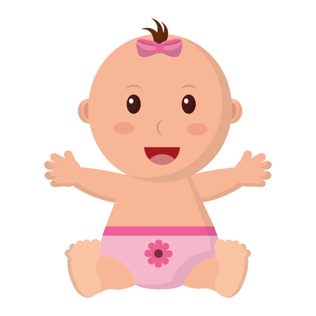 Baby girl with diaper isolated icon vector illustration design. Иллюстрация