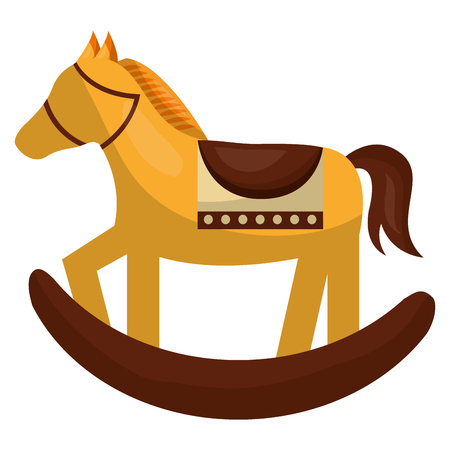 horse wooden toy baby vector illustration design