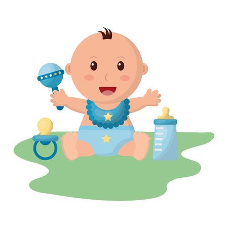 Baby Boy con pañal y accesorios, diseño de ilustraciones vectoriales