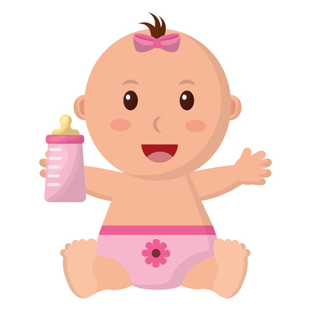 baby girl with diaper and bottle milk in hand vector illustration design