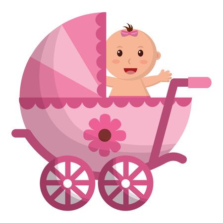 赤ちゃんの女の子のカート孤立したアイコンベクトルイラストデザイン  イラスト・ベクター素材