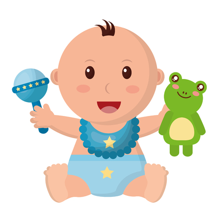 baby boy with diaper and toys vector illustration design