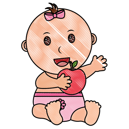 baby girl with diaper and fruit apple vector illustration design Illustration