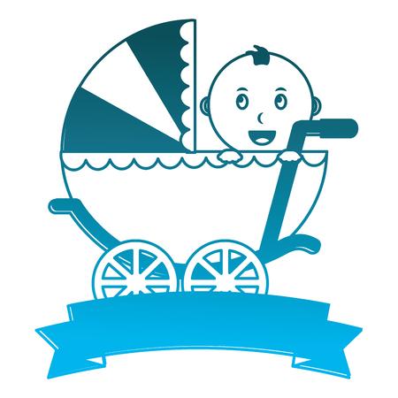 baby boy cart with ribbon frame vector illustration design