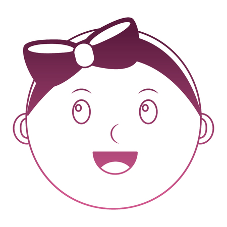 head baby girl happy with bow vector illustration design