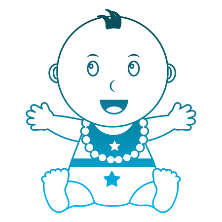 baby boy with diaper and bib icon vector illustration design