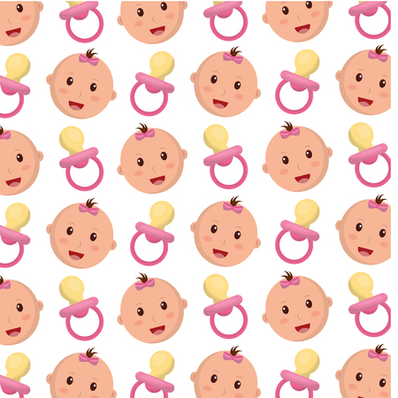 head baby girl with pacifier pattern vector illustration design