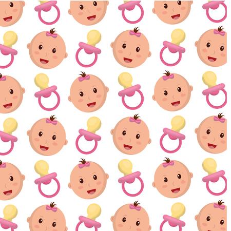 head baby girl with pacifier pattern vector illustration design Vektoros illusztráció