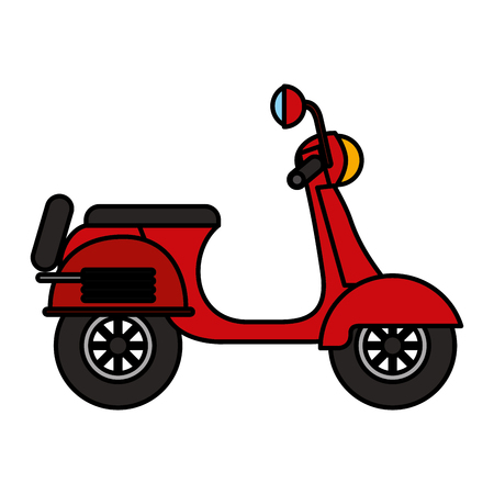 Red scooter traditional transport recreational illustration Ilustrace