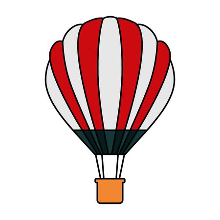 Hot air balloon basket adventure recreation illustration