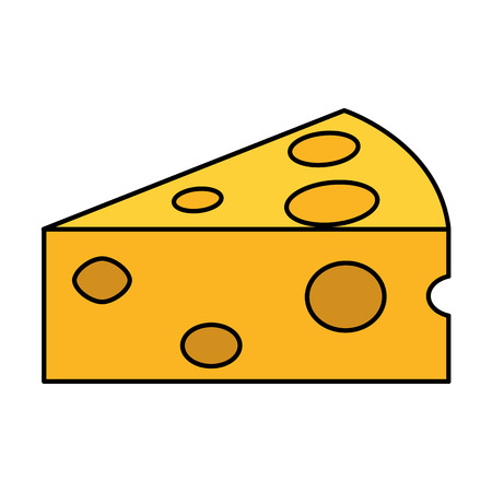 Slice of cheese food icon illustration