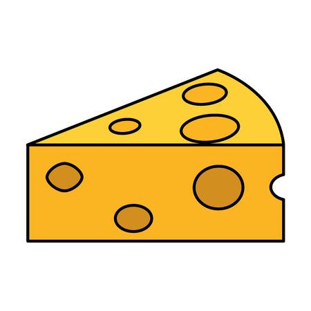 Slice of cheese food icon illustration