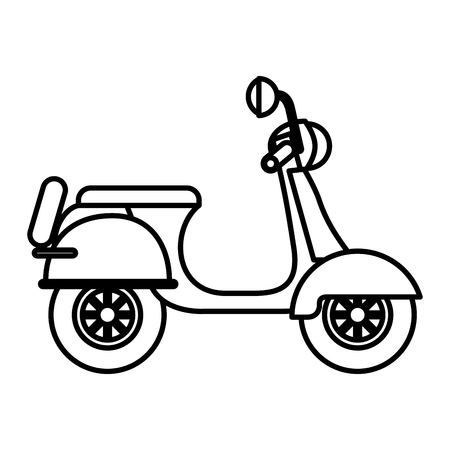 Scooter traditional transport recreational  illustration outline Ilustração