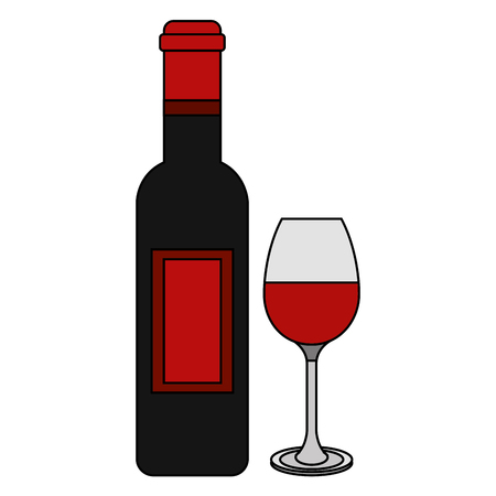 Red wine bottle and glass  illustration