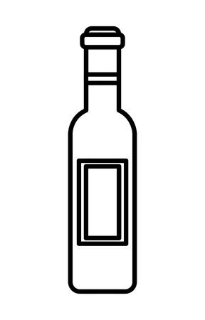 Wine bottle drink  illustration outline Illustration