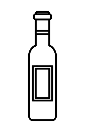 Wine bottle drink  illustration outline Иллюстрация