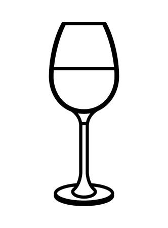 Wine glass icon illustration outline