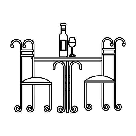 Vintage table and chairs with wine bottle and cup illustration outline