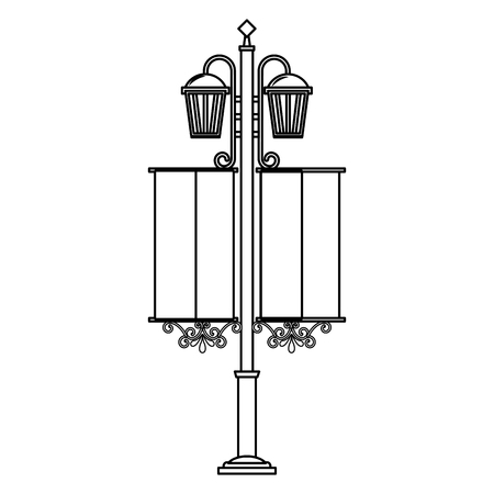 Vintage street lamps  illustration outline