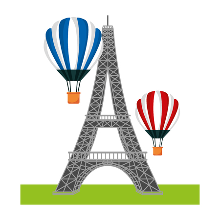 French tower Eiffel and hot air balloons flying vector illustration Archivio Fotografico - 99616653