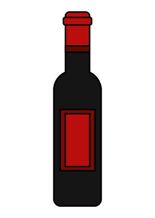 Wine bottle drink beverage image vector illustration.