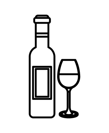 Red wine bottle and glass cup drink vector illustration outline.