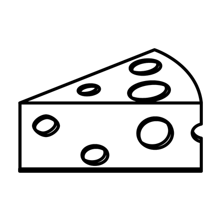 Slice cheese piece holes food vector illustration outline. Ilustração