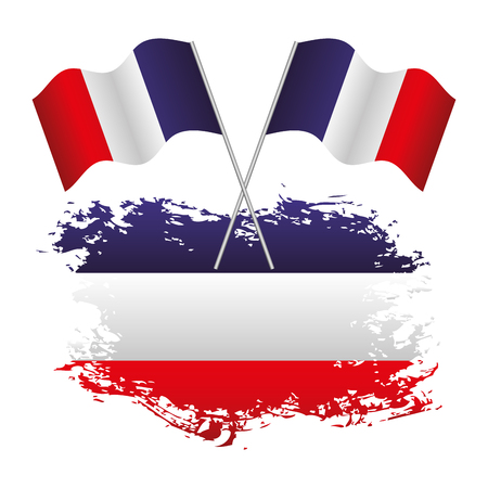 French flag national grunge and two cross flags vector illustration.