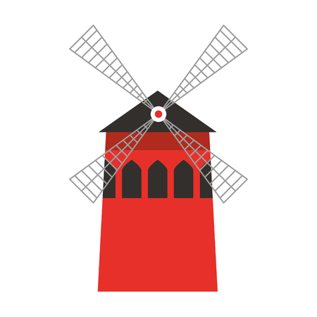 Windmill farm traditional building image vector illustration