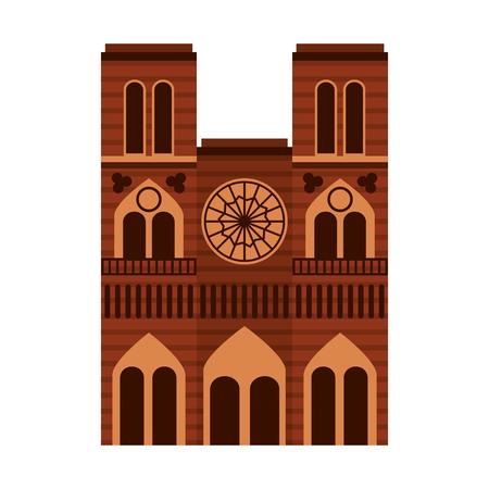 Cathedral notre dame landmark architecture church in paris vector illustration Vettoriali
