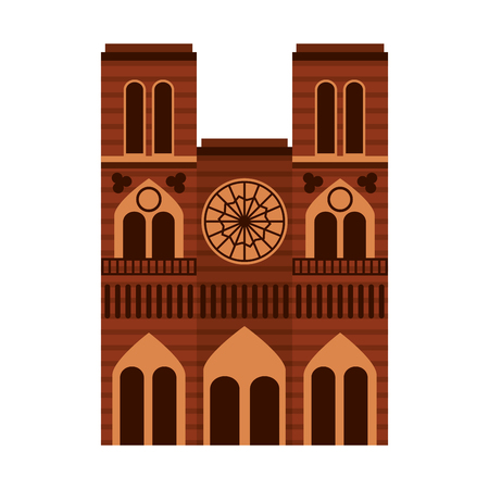 Cathedral notre dame landmark architecture church in paris vector illustration Illustration