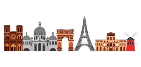 landmark paris france notre dame basilica sacred tower eiffel arch of triumph moulin rouge vector illustration
