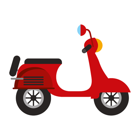 Red scooter traditional transport recreational vector illustration