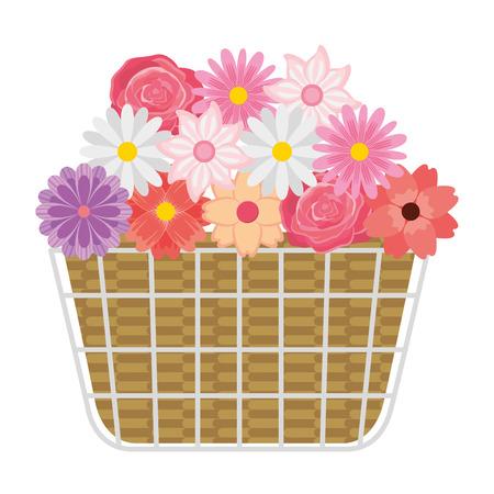 Wicker basket flowers natural decoration vector illustration