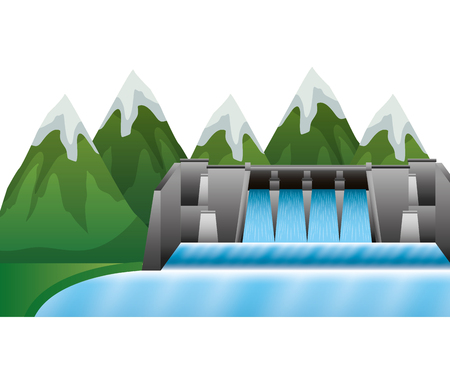 Hydroelectric dam with landscape vector illustration design.