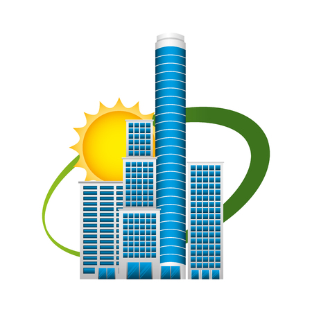 Retro city scape buildings with sun vector illustration design