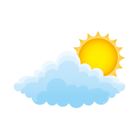 Cloud with sun climate isolated icon illustration design 일러스트