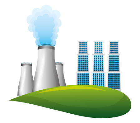 Nuclear energy chimney with buildings vector illustration design